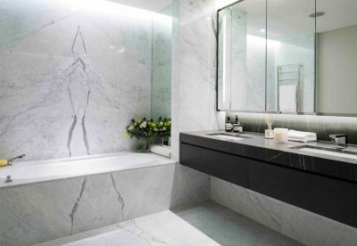 Contemporary marble bathroom