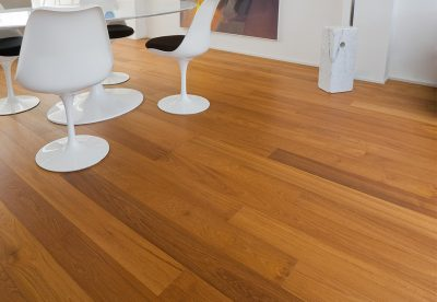 Teak wood flooring in office