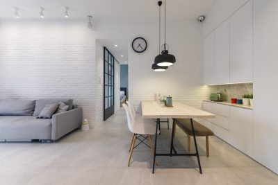 contemporary dining stony tiles