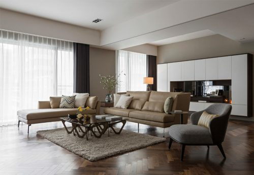 parquet contemporary living room